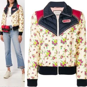 Gucci Floral Crystal Panel Down Bomber Jacket